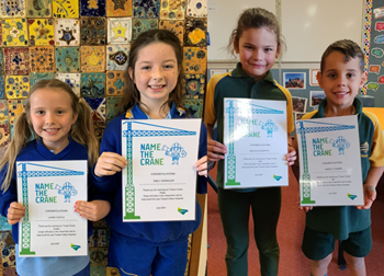 Local students name the cranes at Tweed Valley Hospital